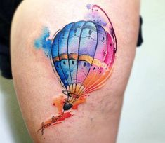 Watercolor and cartoon tattoo style of Hot Air Balloon motive done by artist Claudia Denti Tattoos Air Balloon Tattoo, Air Tattoo, Hot Air Balloon, Dad Tattoos, Future Tattoos, Sleeve Tattoos, Loki Tattoo, Adventure Time Tattoo, Elephant Balloon