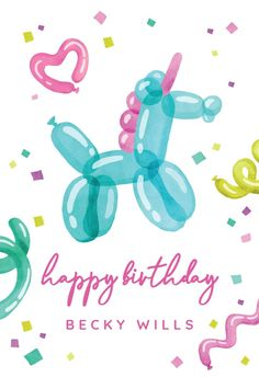 Unicorn Balloon - Happy Birthday Card #greetingcards #printable #diy #birthday