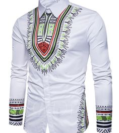 White dashiki Men shirt