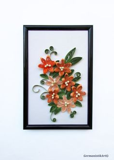 Flower Hanging Wall Art Miniature Quilled Home by GermanistikArt