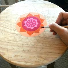 How to Paint a Mandala Wooden Stool Color Made Happy Painted Rocking Chairs, Hand Painted Chairs, Whimsical Painted Furniture, Painted Stools, Painting Wooden Furniture, Wooden Stools, Funky Furniture, Furniture Makeover, Plywood Furniture