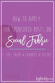 Do you want to monetize your blog with sponsored posts, but aren't sure where to start? Have you applied to Social Fabric, but haven't gotten any sponsored posts? Not only am I sharing the process for applying to the Social Fabric website, I'm offering my exact template for pitching your ideas AND several of my own personal pitches that have been selected for previous campaigns. // Hey There, Chelsie