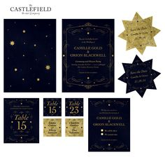 Blue and gold wedding invite suite from The Castlefield Bridal Company | @castlefieldco