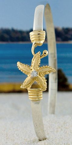14K Starfish with 3 pt Diamond in center, Gold Hook and Wrap on Sterling Silver Bracelet