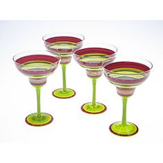 @Overstock - Certified International is a leading manufacturer of ceramic tablewares, and this set of hot tamale margarita glasses will lead your table into a colorful setting. This hand-painted margarita glass set features striations of colors in reds and greens.http://www.overstock.com/Home-Garden/Certified-International-Hot-Tamale-Hand-painted-Margarita-Glasses-Set-of-4/5750079/product.html?CID=214117 $38.49