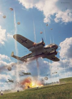 Commisioned illustration for Battle of Britain Combat Archive Vol. 5 by Simon W. Dornier model by Dariusz Markiw. Scene, textures and illustration by Piotr Forkasiewicz. Copyright by Simon W. Ww2 Aircraft, Fighter Aircraft, Military Aircraft, Fighter Jets, Luftwaffe, The Art Of Flight, War Thunder, Airplane Art, Ww2 Planes