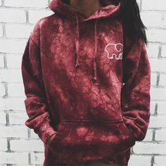 Oversized Maroon Acid Wash Tie-Dye Hoodie ($185,000) ❤ liked on Polyvore featuring tops and hoodies