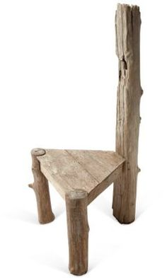 Driftwood Chair-three legs instead of a backing would make cute stools for kids table or two backing pieces for better back support. Rustic Outdoor Furniture, Twig Furniture, Driftwood Furniture, Driftwood Table, Driftwood Projects, Small Wood Projects, Woodworking Projects For Kids, Furniture Projects, Kids Furniture