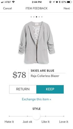 StitchFix 4/11/18...is this grey? I like the color. I don't have a light grey neutral. This style is a little boxy. I'd try this...my fear would be that it goes of style quickly.