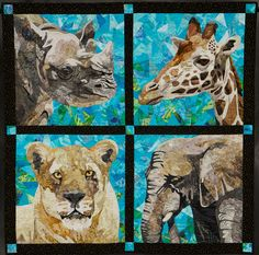 """""""Bay Bridge Series"""" by Nancy S Brown.  2012 Road to California.   The elephant and the giraffe in this quilt live in the Oakland Zoo and the rhinoceros and lion live in the San Francisco Zoo, hence the name of the quilt."""