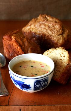 It's hard to find fault in lots of extra sharp cheddar cheese, tons of fresh thyme, and vegetables sautéed in rendered pancetta fat! ...[Vermont cheddar cheese soup + beer bread]...