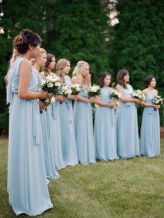 Pretty blue bridesmaid dresses: http://www.stylemepretty.com/wisconsin-weddings/milwaukee/2016/01/15/elegant-intimate-outdoor-backyard-wedding-in-wisconsin/ | Photography: Kate Weinstein - http://www.kateweinsteinphoto.com/#0