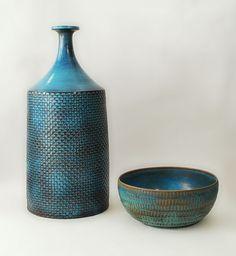 Stig Lindberg stoneware with matte turquoise glaze, 1964. vase $6800, bowl $1950