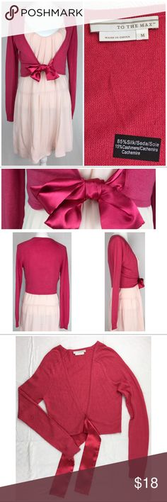 """To the Max Hot Pink Silk/Cashmere Sweater Wrap To the Max Hot Pink Silk/Cashmere Shrug.  Size M.  Satin front ties.  85% silk, 15% cashmere.  Light knit with stretch.  Dry clean only.     Back length: 16.5"""".  Laid flat, back panel measurements – pit to pit 15"""", bottom of shrug 13"""" across.  Sleeve length (on mannequin) 25.5"""".  Cuff width: 3"""".     Love it but not the price - I'm open to (reasonable) offers! To the Max Sweaters Shrugs & Ponchos"""
