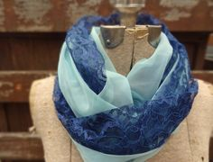 Vintage lace infinity scarf navy blue lace and light by PaleDesign, $33.00