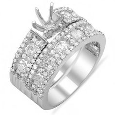 1.33 Carat (ctw) 10K White Gold Round Cut Diamond Ladies Engagement Semi Mount Bridal Ring Set 1 1/3 CT (No Center Stone). An outstanding collection of Diamond Jewelry at great prices from Dazzling Rock.