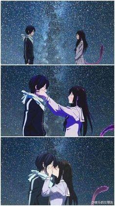 Hiyori, Yato. (fanart, they hadn't kissed yet..)