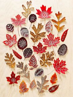 Use beautiful fall leaves as canvases for doodle designs. Press colorful finds inside a heavy book for about 10 days, then draw on them with metallic paint markers. To add a bit more strength and shine, seal the finished leaves with Mod Podge.                 Originally published in the October 2013 issue of FamilyFun magazine.