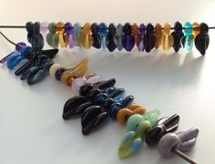 Lampwork Leaf Drops!  Lovely mix of orphan colors....in my shop now!