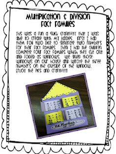 Free Multiplication & Division Fact Family Activity