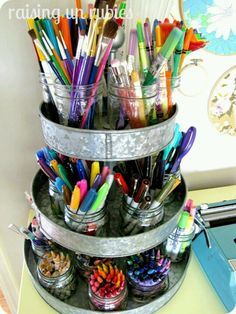 Keep crafts organized. someday I'll have a finished basement with a craft room.
