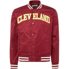 Schott Cleveland Varsity Bomber Jacket ($110) ❤ liked on Polyvore featuring men's fashion, men's clothing, men's outerwear, men's jackets, men coats and jackets, mens varsity jacket, mens nylon bomber jacket, mens varsity bomber jacket, mens blouson jacket and mens hooded bomber jacket
