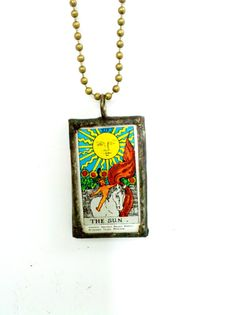Tarot Card Stained Glass Soldered Pendant Necklace  by Mystarrrs