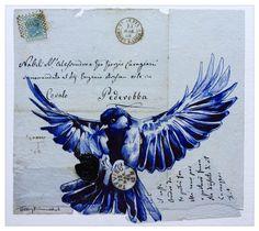 """Bird in Flight"" on 1868 envelope - Envelope Art - South African artist Terry Kobus © www.spinman.co.za"