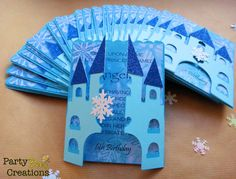 Snowflake princess castle invitations