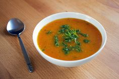 Carrot soup with dill pesto
