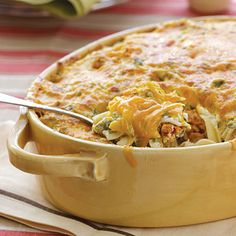 Gourmet Ground Beef-Noodle Casserole with wide egg noodles - Oxmoor House _ Cream cheese and Cheddar cheese make this casserole extra rich and creamy.