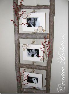 DIY Photo Ladder using tree branches