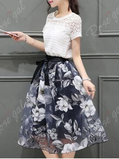 Elegant Round Neck Short Sleeves Floral T-Shirt + Organza Skirt For Women