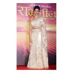Bollywood Deepika Padukone Cream Net Saree | High5Store.com