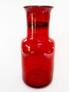 MID C20TH VINTAGE ERIK HOGLUND/(KOSTA) BODA SWEDEN RED BUBBLE ART GLASS VASE    eBay