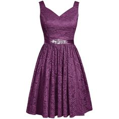 Dresstells Women's V-neck Lace Bridesmaid Dress Short Party Dress with... (90 CAD) ❤ liked on Polyvore featuring dresses, short dresses, short bridesmaid dresses, short purple dresses, short cocktail dresses, lace dress and v neck cocktail dress