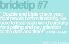 Bride Tip from 'RSVP to me' on ContemporaryBride.com