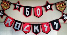 Kiss Band Themed 50th Birthday Party Banner, Kiss Army, 50 Rocks