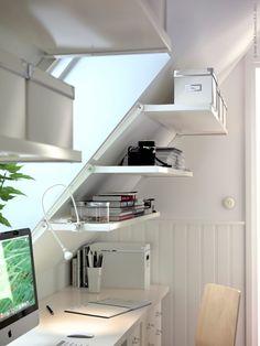 A slanted wall shelving unit for slanted walls at ikea: Ekby Riset adjustable brackets and shelves. Home, Small Spaces, Ikea Ekby, Home Office Design, New Homes, House, Small Home Office, Slanted Walls, Ikea Catalog