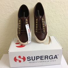 SUPERGA Women Girls Mothers Day Brown Leather Snickers Casual Shoes Lace-Up #Superga #Comfort