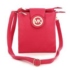 Michael Kors Fulton Pebbled Large Red Crossbody Bags