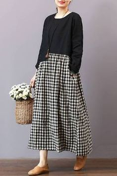 FantasyLinen Casual Loose Plaid Dress, Linen Literary Maxi Dress For Spring – Linen Dresses For Women Outfits Dress, Outfits Casual, Casual Dresses, Fashion Outfits, Grunge Outfits, Blouse Dress, Plaid Dress, Boho Dress, Mode Abaya