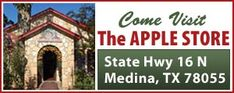 Visit The Apple Store in Medina, Texas.  Mile high apple pie! Apple butter, apple relish, apple cider, apple everything!
