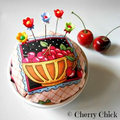 Mary Engelbreit fabric Pincushion - Cherry Pincushion - Pin Keep - Decorative Pins - Gift for Quilters - Cherries - Fancy Pins by DecorativeSewingPins on Etsy