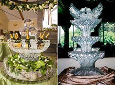 Esculturas de hielo increíbles para eventos con estilo propio. Centros de mesa en forma de fuente helada