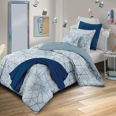 Haydee Reversible Twin XL Comforter Set In Blue – Dorm Room İdeas 2020 Twin Bed Comforter, Twin Xl Bedding Sets, Dorm Comforters, Full Comforter Sets, Dorm Bedding, College Bedding, Blue Rooms, Blue Bedroom, Girls Bedroom