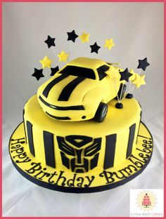 Transformer inspired birthday cake. #Yellow #TransformersMovies
