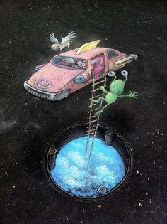 Street chalk drawings by David Zinn