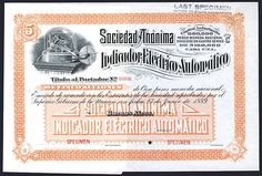 Indicador Electrico Automatico. 1889. Specimen Stock Certificate With Stock Ticker Appearing Machine