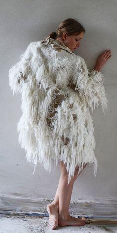 White and golden felt coat fur free kimono by vilte OOAK ...